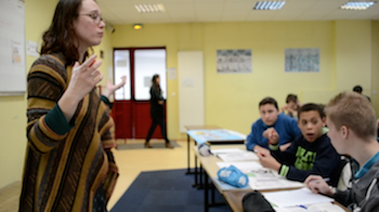 Pauline en classe
