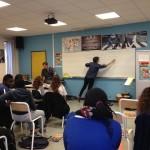 11.2014: Helluvah lors de sa première rencontre avec la classe de 5è du collège Jean-Baptiste Clément de Dugny