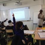 11.2014: Gasandji au collège Louise Michel de Clichy atelier CAC sur l'histoire du mouvement corporel en musique)