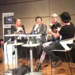 09.03.2015: Elodie Suigo de France Bleu, Edgard Garcia, directeur de Zebrock et Demi Mondaine au Studio 105 de Radio France devant un parterre de collégiens/lycéens